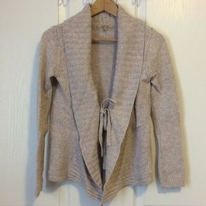 RW&CO cream open knit cardigan with front tie